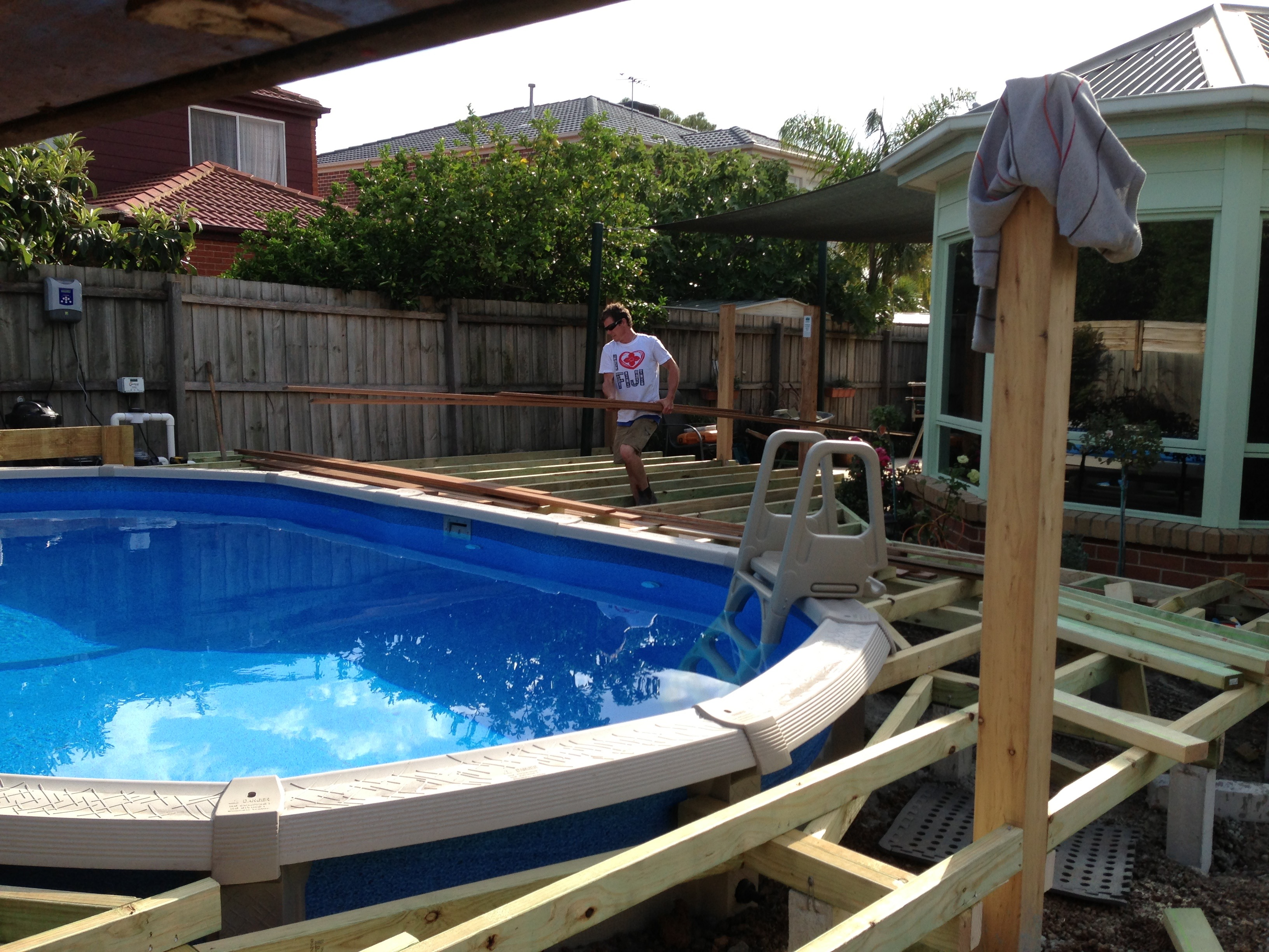 decking around pool start to finish (2)