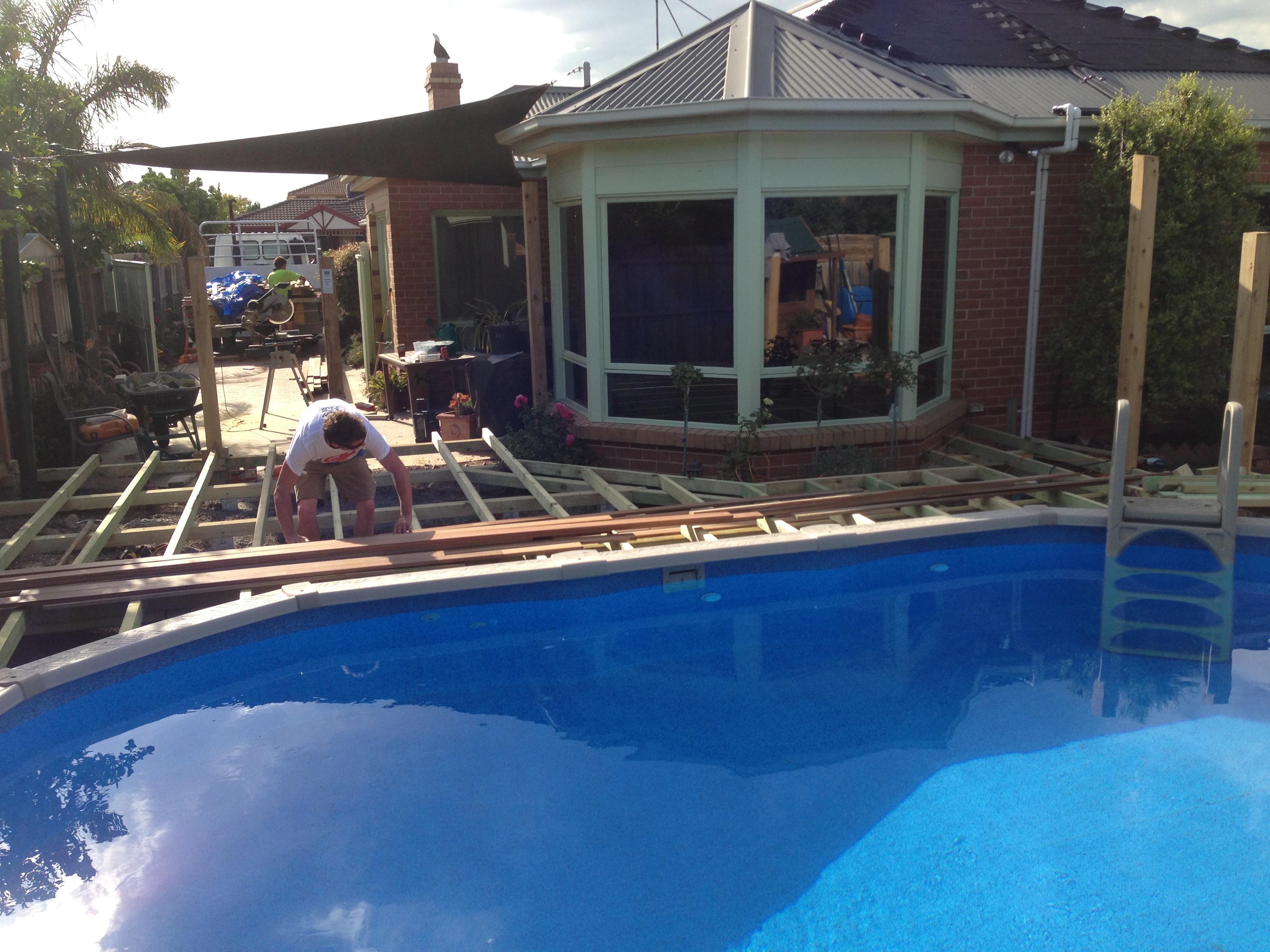 decking around pool start to finish (3)