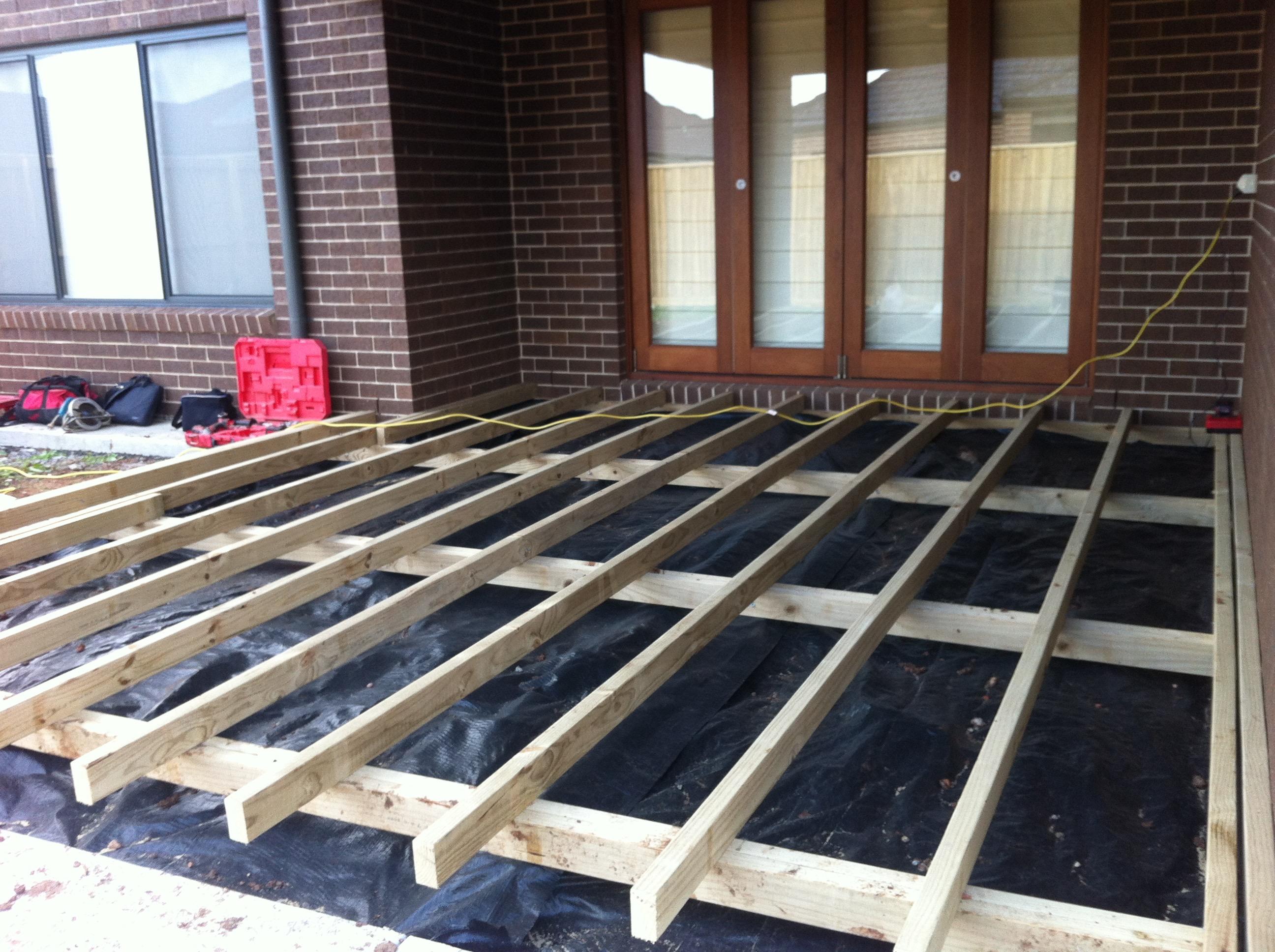 decking framework with weedmat (2)