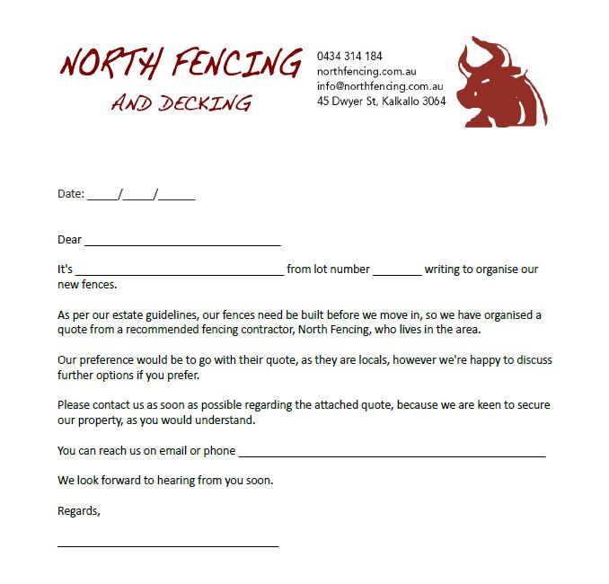 north fencing letter to neighbours